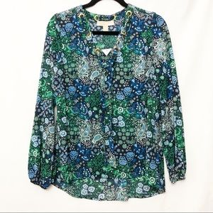 Michael Kors Floral Green Long Sleeve Blouse Small